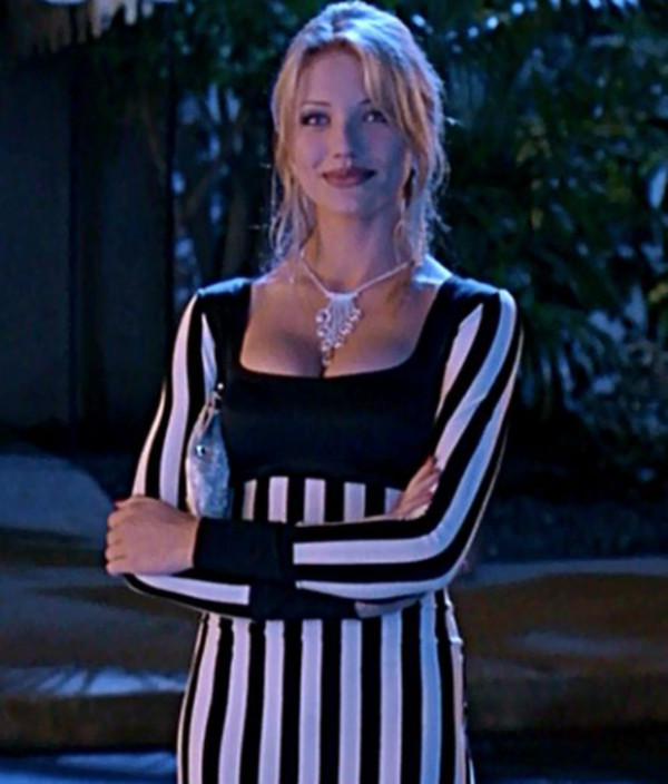 Dress: cameron diaz, black and white, beetlejuice, long ...