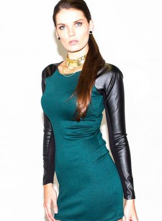 Green Party Dress - Green Faux Leather Sleeves Mini | UsTrendy