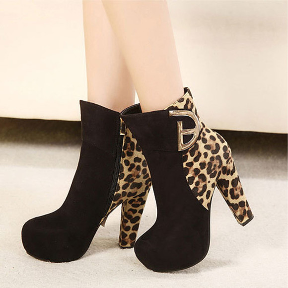 leopard shoes bootie high heel