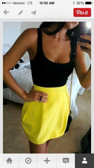 skirt neon yellow tulip skirt