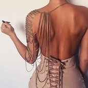 jewels,dress,chain,body chain,brown,suede,lace,lace up,skirt,pants,off the shoulder,gold,gold chain,backless,jewelry,girly,nude dress,bodycon dress,sexy dress