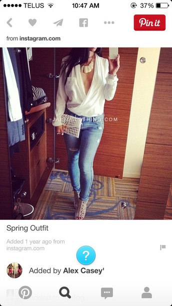 blouse low cut white jeans ripped jeans classy low cut top