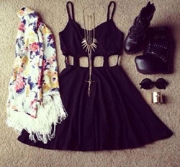 cut-out black dress dress