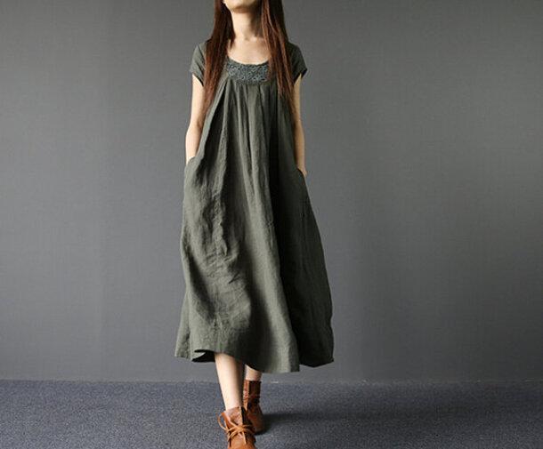 dress army green dress