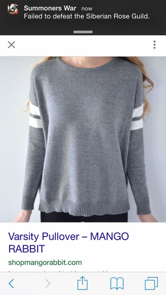 sweater pullover grey sweatshirt varsity varsity pullover double stripe