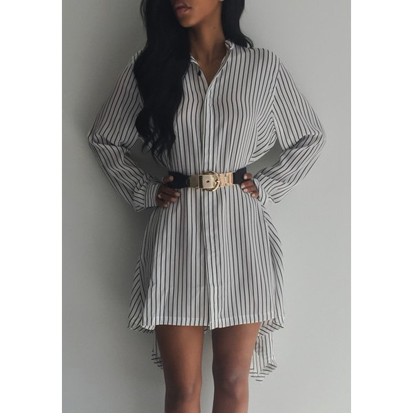 50% off rock-bottom price terrific value Wholesale Striped Irregular Hem Stylish Shirt Collar Long Sleeve Dress For  Women (AS THE PICTURE,L), Long Sleeve Dresses - Rosewholesale.com