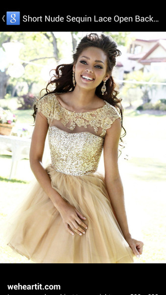 dress prom dress gold style glitter nude sherri hill sequins gold dress homecoming dress party dress short homecoming dress 2016 homecoming dresss