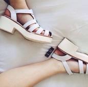 shoes,white,sandals,white sandal heels,mid heel sandals