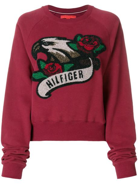 Hilfiger Collection - rock raglan sweatshirt - women - Cotton/Polyester - M, Red, Cotton/Polyester