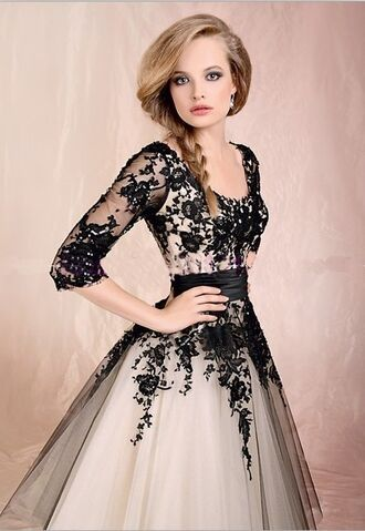 dress prom dress black lace prom black lace dress white dress ball gown flowers sleaves