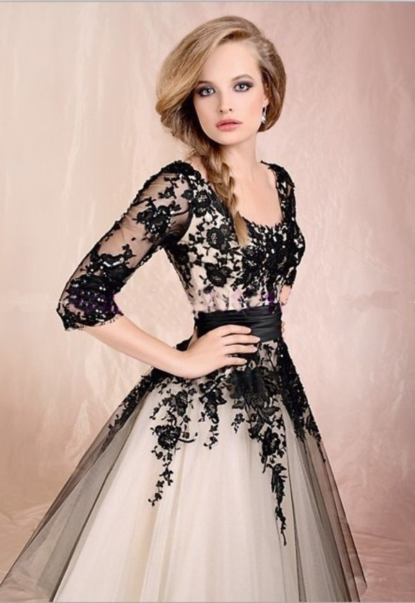 dress ball gown dress knee length homecoming dress black and white dress lace dress tulle dress prom dress prom dress prom nude black sleeve nude dress black lace dress tutu dress long sleeves lace pinterest