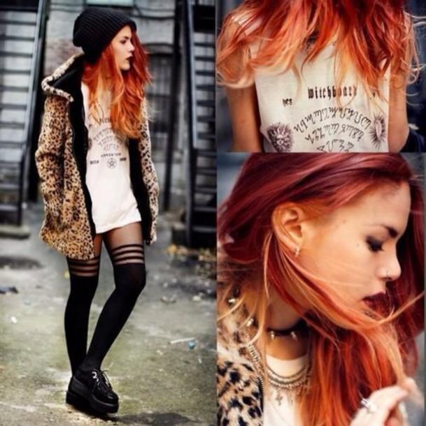 T Shirt Punk Grunge Rock T Shirt Dress White Le Happy Leopard Print Coat Fur Animal