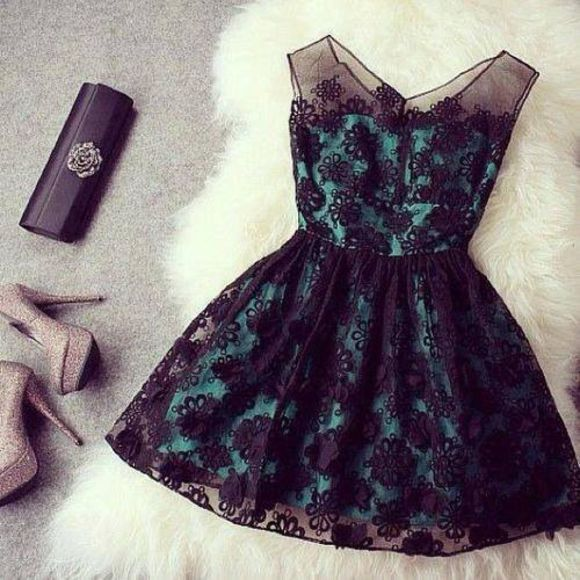 teal dress dress lace dress black shoes beautiful lace black lace lace dressees mint floral fashion cute clutch blue and black dress little black dress heel high heels blue dress sheer dress bag teal skater dress cute dress glitter shoes green diamonds sparkly mesh black flower turquoise blue dress
