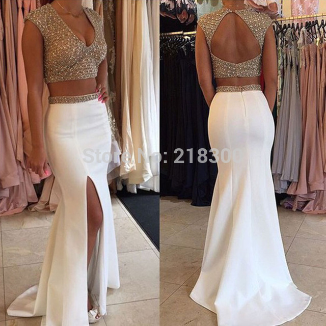 5aebea5c2a4 Aliexpress.com   Buy Two piece prom dresses white beaded sparkly prom  dresses mermaid backless pageant dresses with slit cap sleeves from  Reliable dress up ...