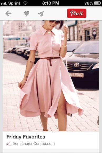 button up pink dress