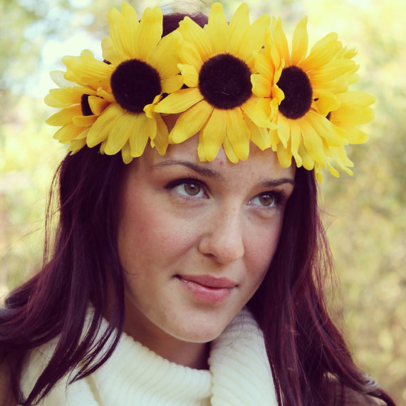 Yellow Sunflower Festival Flower Crown  Yellow by CROWNOFMYRA