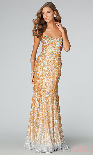 Strapless Gold Sequin Gown, Gold Sequin Prom Dresses- PromGirl