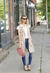jacket,vest,heels,bag,jeans,sunglasses,white shirt