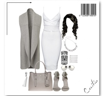 dress white white dress grey sweater grey elegant elegnat dress heels prada