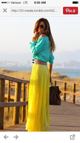 Skirt: yellow pleated maxi skirt - Wheretoget