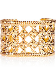 Woven-effect gold-plated cuff | Kenneth Jay Lane | THE OUTNET