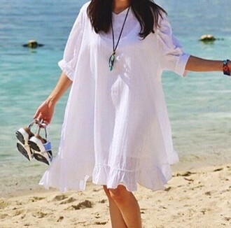 dress white dress cotton summer dress summer loose