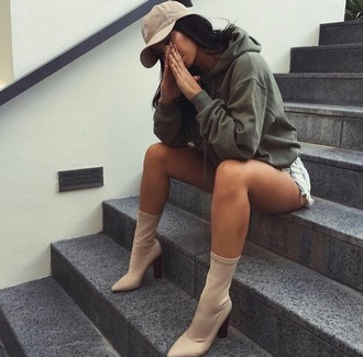sweater black khaki yeezy cap shoes