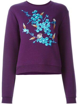 sweatshirt embroidered purple pink sweater