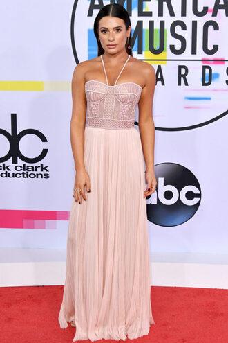 dress gown prom dress wedding dress red carpet dress lea michele bustier dress nude nude dress american music awards