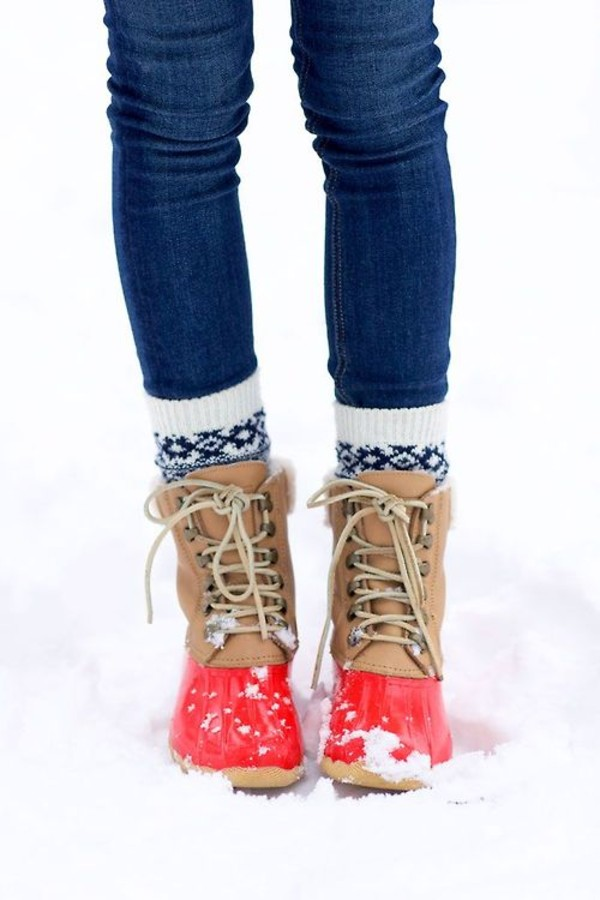 shoes boots red coral winter outfits j crew