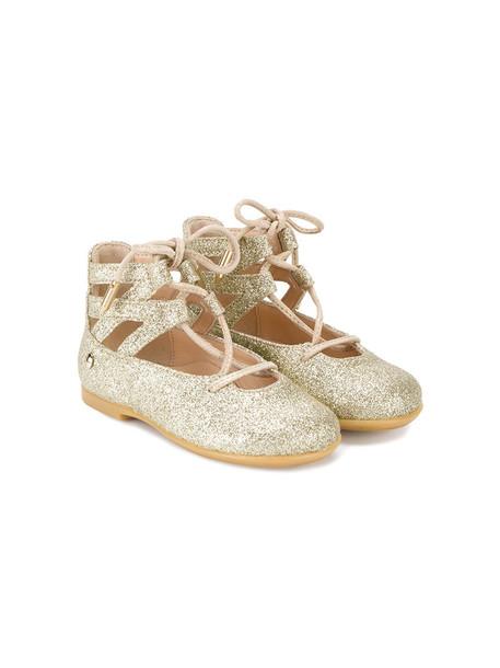 Aquazzura Mini glitter baby flats leather grey metallic shoes