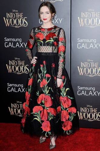 dress emily blunt floral sheer gown embellished