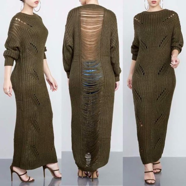 dress maxi maxi dress olive green shredded dress thread sweater dress knitted dress sweater long sweater khaki green green dress shirt sweatshirt backless sweater dark olive green
