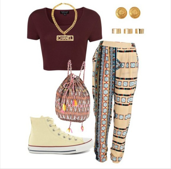 shirt tribal pattern t-shirt harem pants burgundy top pants converse bag shoes