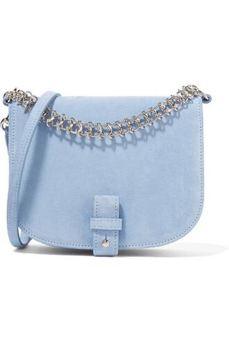 bag shoulder bag blue suede sky blue