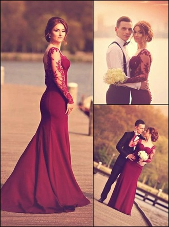 dress prom fashion burgundy red lace lace dress long dress