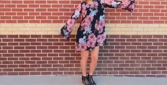 dress asos black dress floral floral dress lace up long sleeved dres