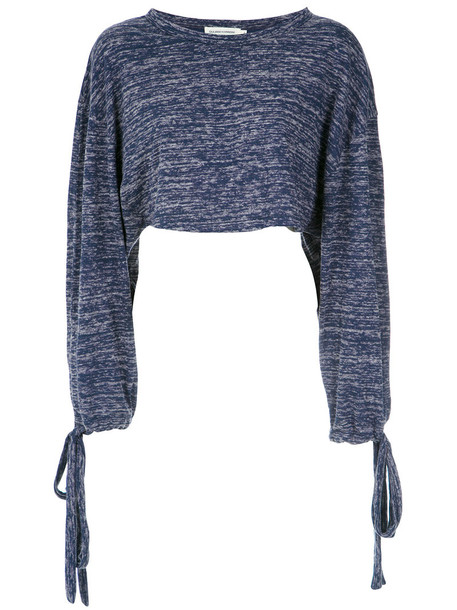 Giuliana Romanno - long sleeves cropped top - women - Cotton/Polyester - G, Blue, Cotton/Polyester
