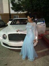 dress,prom,blue,prom dress,blue dress,baby blue,rhinestones,rhinestones dress,sparkle,sparkly dress,long prom dress,long sleeves