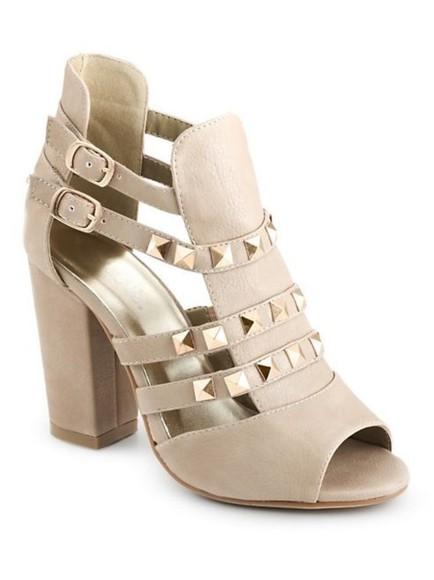 shoes studded shoes high heels sandals beige shoes chunky heels