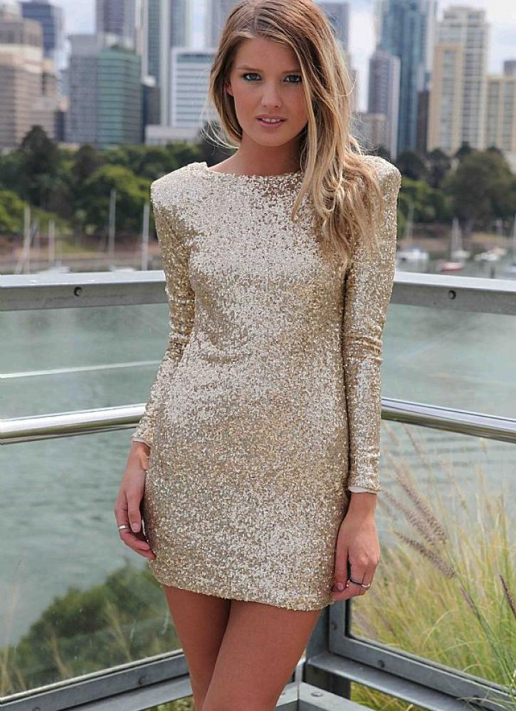Gold sequin long sleeve bodycon dress