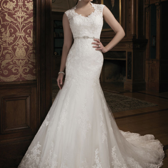 dress Luxury v neck lace crystal beaded bridal gowns with sleeves anna