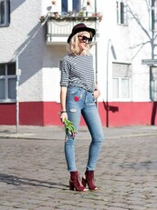 mikuta now,blogger,jeans,hat,embellished denim,peep toe heels,skinny jeans