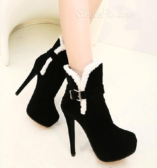 New Arrival Fashionable Black Nubuck Stiletto Heel Martin Boots