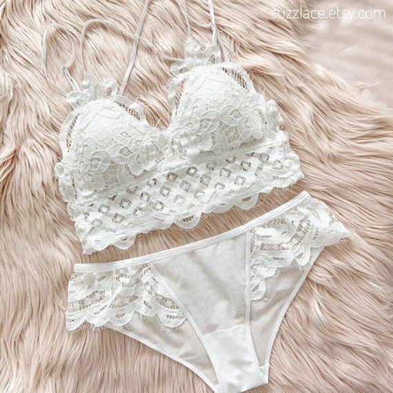 Crochet Lace Lingerie Set, Bralette Top Removable Pads, Mesh Lace Pantie, Bridal Shower Bridesmaid Gift, Women Underwear, Plus Size