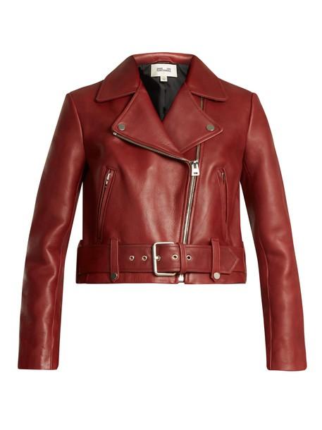 Diane Von Furstenberg jacket biker jacket cropped leather burgundy