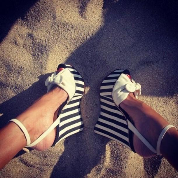 shoes stripe heels bow heels