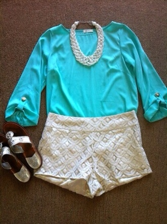 shirt blue teal teal shirt dressy summer outfit blue shirt preppy shorts