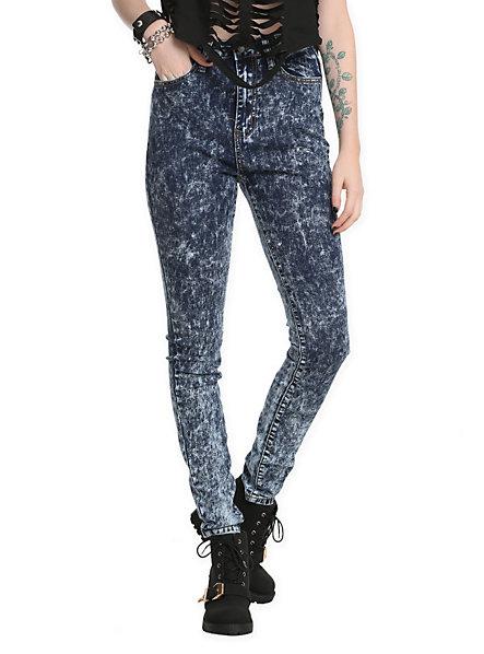 Judy Blue High-Waisted Dark Blue Acid Wash Denim Skinny Jeans | Hot Topic