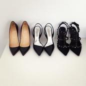 shoes,pumps,pointed toe heels,black,studded shoes,mid heel pumps,black stilettos,d'orsay pumps